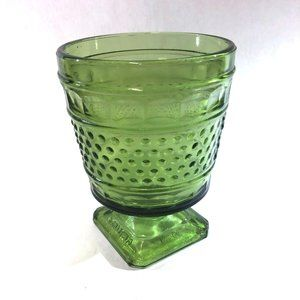 Vintage Napco Green Hobnail Thumprint Glass Footed